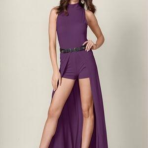 Venus Mock Neck Romper, Dark Purple/Plum, Size XS